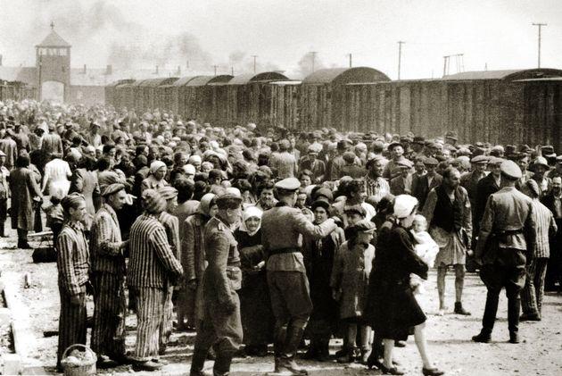The arrival of Hungarian Jews in Auschwitz-Birkenau, in German-occupied Poland, June
