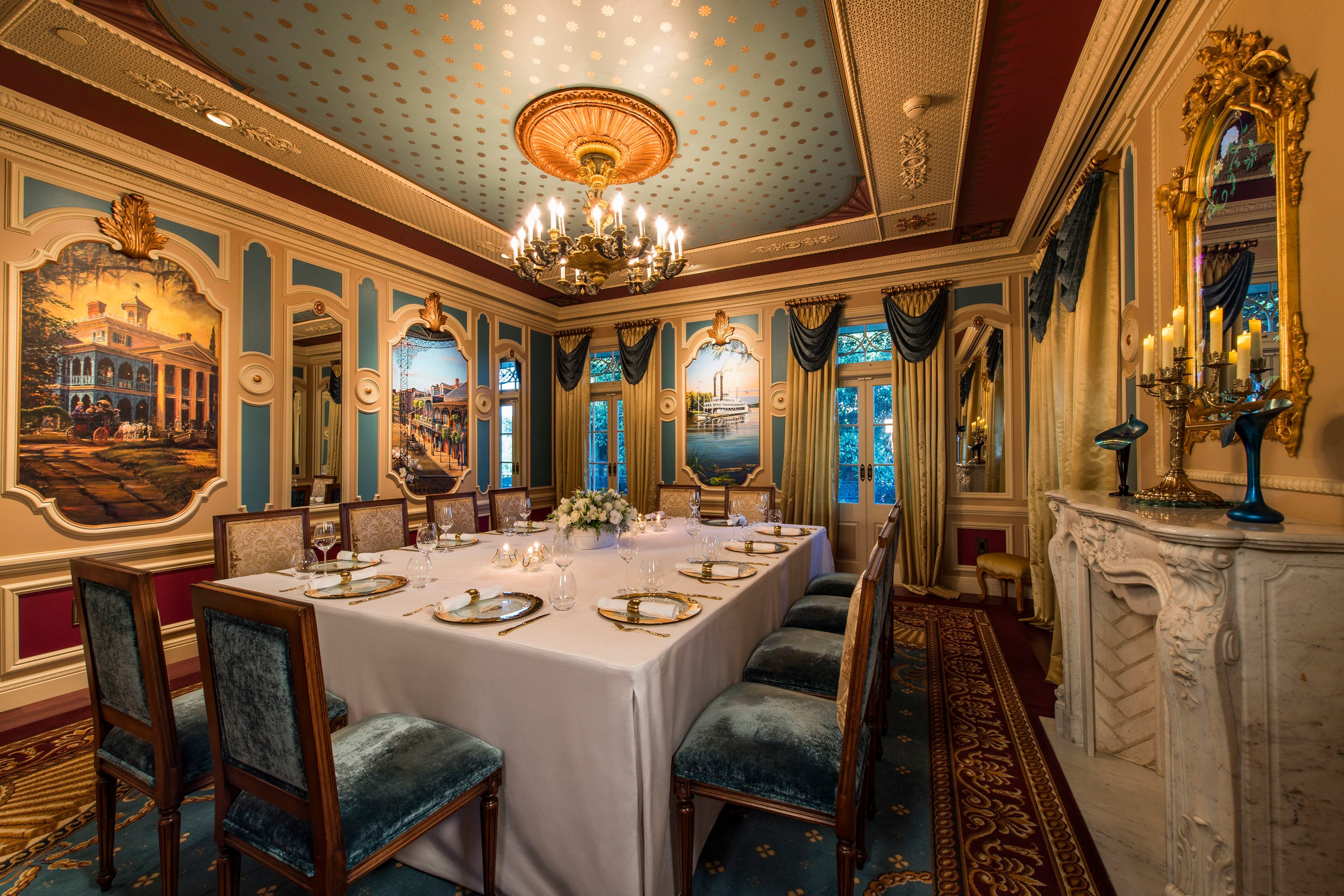 Dining room decor is based on Walt Disney's original plans for a private hangoutin the park.