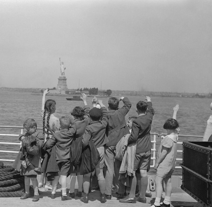 A file photo shows Jewish children arriving in the United States after fleeing Nazi persecution in Austria.