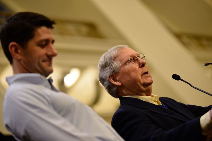 Sen. Mitch McConnell (R-Ky.) and House Speaker Paul Ryan (R-Wisc.) praised Trump for the hiring freeze.