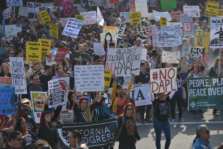 Supporters of Standing Rock Sioux Tribe and thousands of demonstrators attend a protest against DAPL.
