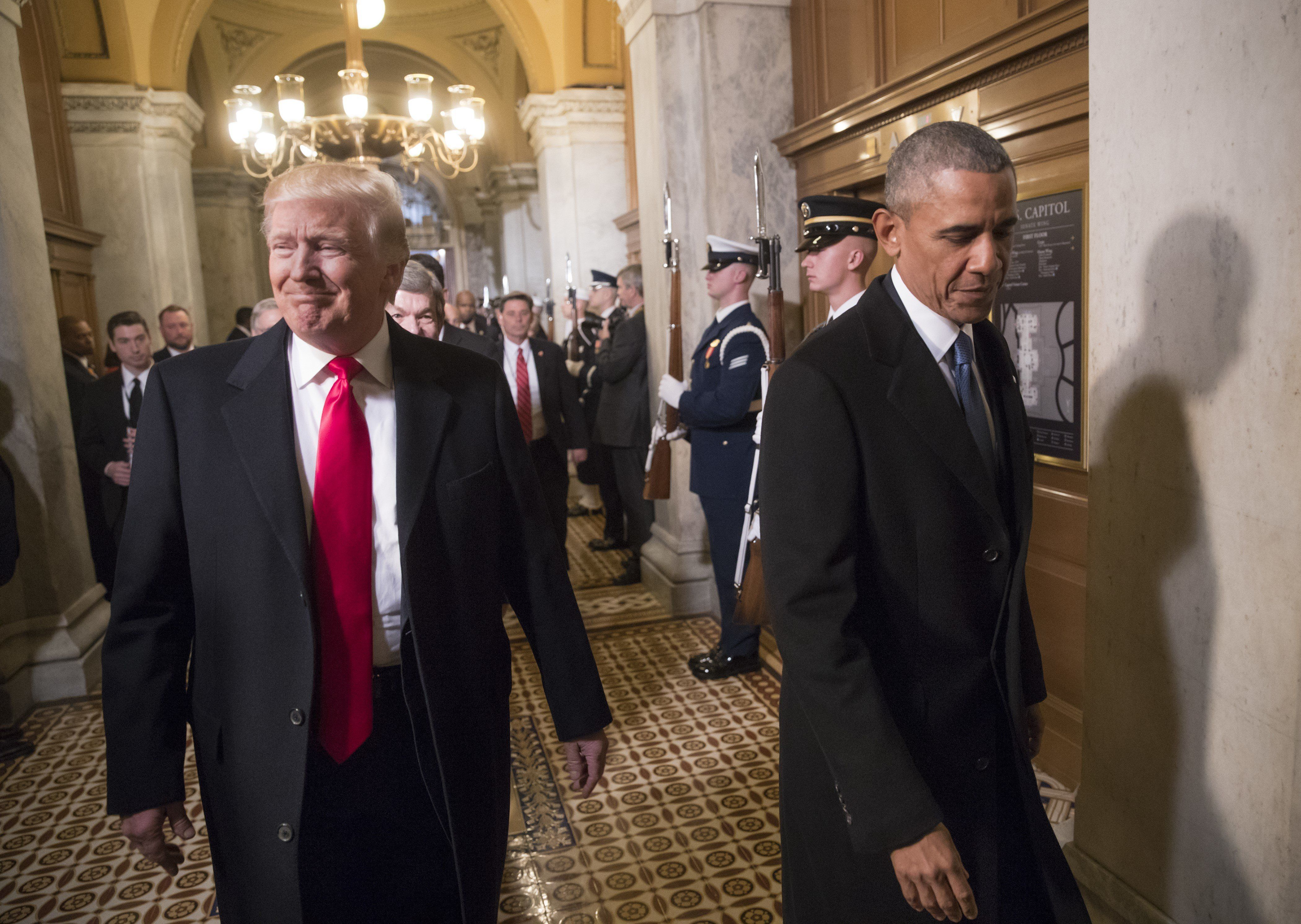 WASHINGTON, USA - JANUARY 20: (EDITORIAL USE ONLY) President-elect Donald Trump, left, and President Barack Obama arrive for Trump's inauguration ceremony at the Capitol in Washington, USA on January 20, 2017.    (Photo by J. Scott Applewhite / Pool / AP/Anadolu Agency/Getty Images)