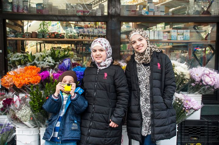 Shaker (L), Hajar (C) and Nabiha Darbi (R) are Syrian refugees living in Jersey City, NJ. Since arriving in the U.S. about 18