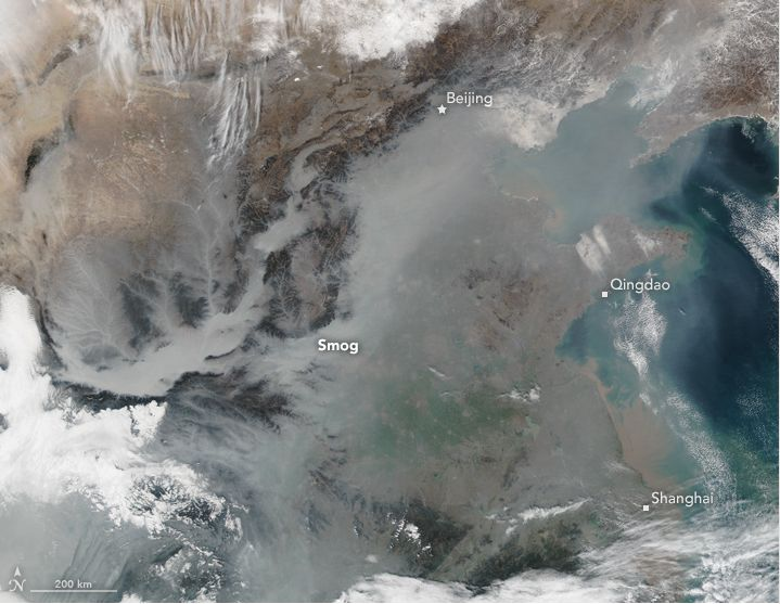 Satellite image of man-made smog from coal, vehicle and industrial emissions over eastern China on Jan. 25, 2017.