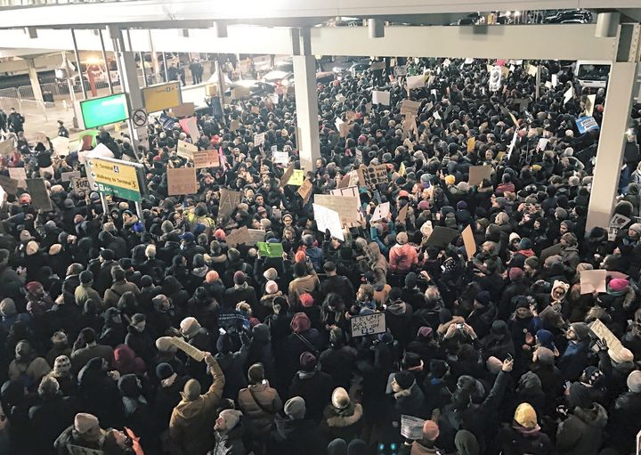 Massive protest at JFK airport terminal 4, Jan. 28, 2017