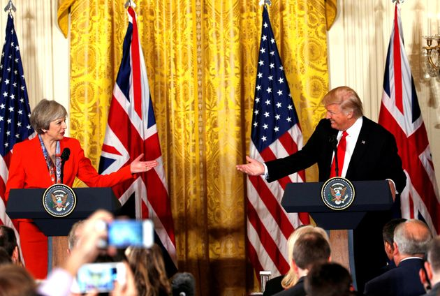 Trump and May during Friday's press conference at the White