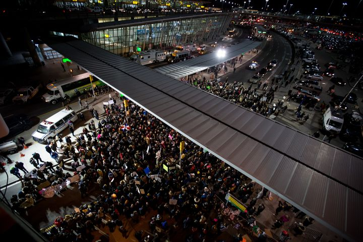 Protesters swarm John F. Kennedy Airport to protest Donald Trump's executive order blocking travelers from seven predominantl