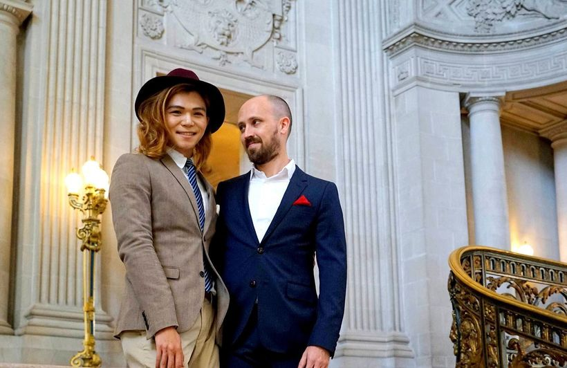 Nigel and his husband Jason at the San Francisco City Hall on their wedding day.