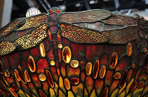 <strong>A detail of a Tiffany dragonfly lamp.</strong>