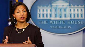 National Security Advisor Susan Rice speaks to the press about U.S. President Barack Obama's upcoming Asia trip while in the Brady Press Briefing Room at the White House in Washington, November 7, 2014.     REUTERS/Larry Downing   (UNITED STATES - Tags: POLITICS)