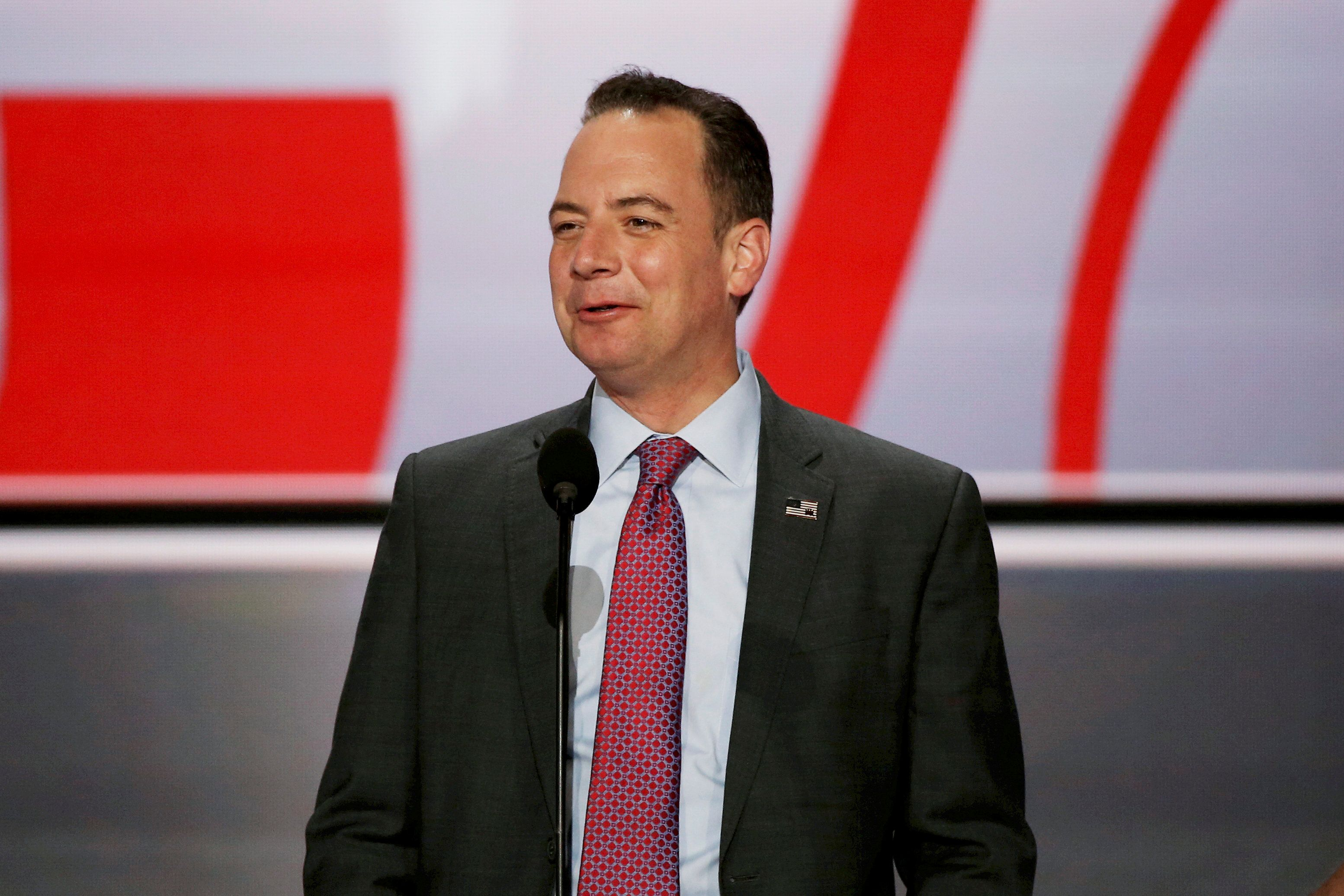 Reince Priebus, Chairman of the Republican National Committee stands at the main podium as he previews the stage at the Republican National Convention in Cleveland, Ohio, U.S. on July 17, 2016. REUTERS/Mike Segar/File Photo