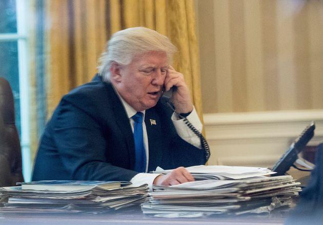 Donald Trump speaks on the phone with German Chancellor Angela Merkel on