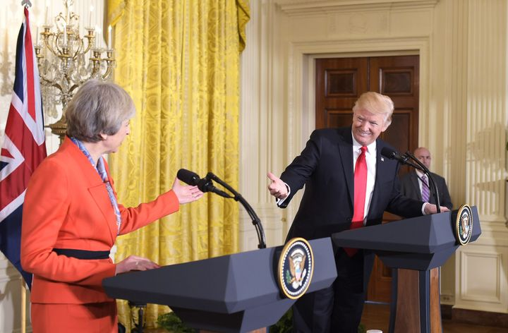 Britain's Prime Minister Theresa May at a joint press conference with U.S. President Donald Trump on Jan. 27, 2017.