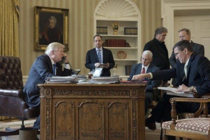 Donald Trump Speaks With Vladimir Putin in the Oval Office. Right to left: Ret. Gen. Matt Flynn (seated), Press Secretary Sea