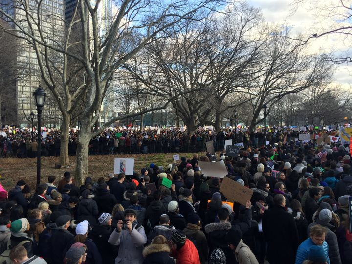Protesters gather in New York's Battery Park.