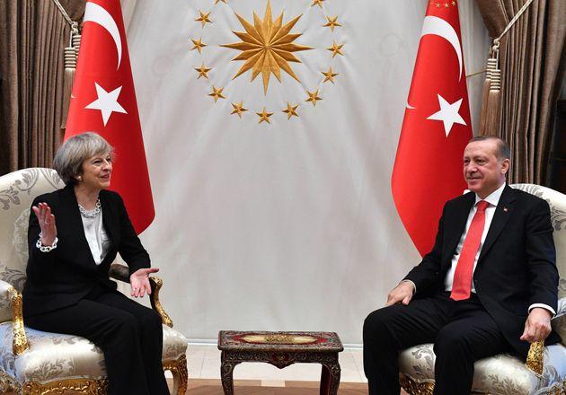 Theresa May and Recep Tayyip Erdogan at his Presidential