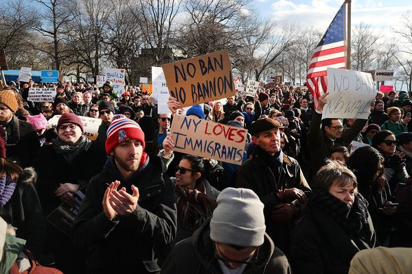 People attend an afternoon rally in Battery Park in New York City.