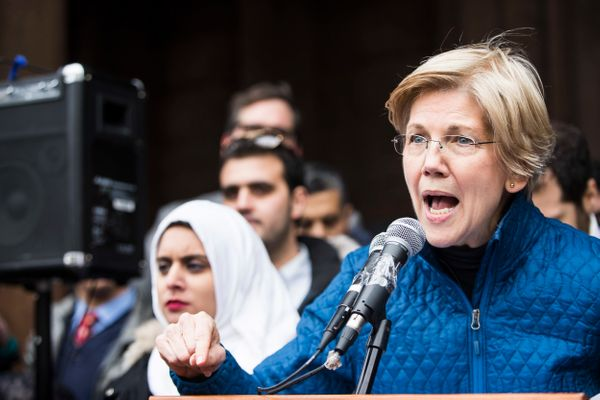 Senator Elizabeth Warren speaks during a protest in Copley Square in Boston.
