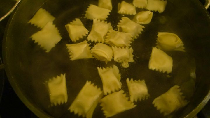 <p>The squash agnolotti that gave rise to the leftover pasta</p>