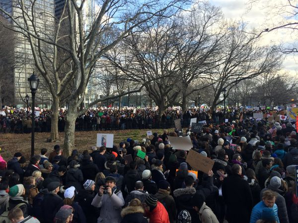 Protesters gather in New York City's Battery Park.