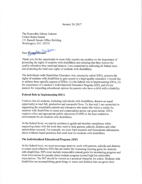 LETTER: Betsy DeVos To Senator Isakson On IDEA Enforcement