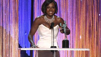 LOS ANGELES, CA - JANUARY 29: Actor Viola Davis accepts the award for Best Female Actor in a Supporting Role for 'Fences,' onstage during the 23rd Annual Screen Actors Guild Awards at The Shrine Expo Hall on January 29, 2017 in Los Angeles, California.  (Photo by Kevork Djansezian/WireImage)