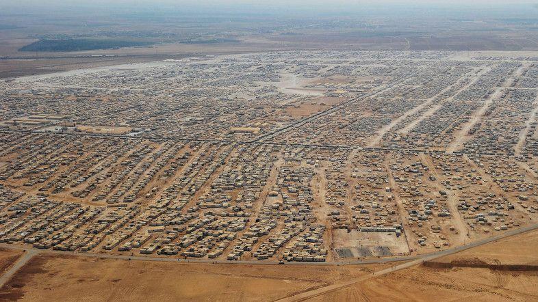 An aerial view shows the Zaatari refugee camp in Mafraq, Jordan, July 18, 2013.