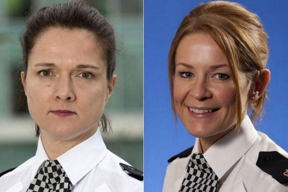 Assistant chief constable Rebekah Sutcliffe, left, is facing disciplinary action for baring her breast...