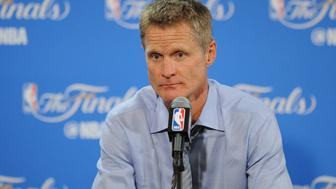 June 19, 2016; Oakland, CA, USA; Golden State Warriors head coach Steve Kerr speaks to media following the 93-89 loss against the Cleveland Cavaliers following game seven of the NBA Finals at Oracle Arena. Mandatory Credit: Gary A. Vasquez-USA TODAY Sports