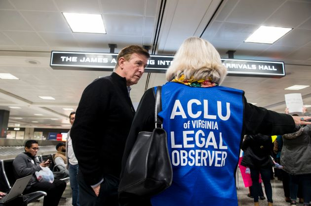 An ACLU legal observer during the protest at Dulles International Airport in