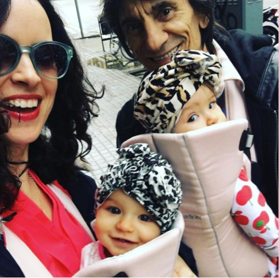 Ronnie Wood's Twin Girls Wear Patterned 'Turbans' On A Family Day