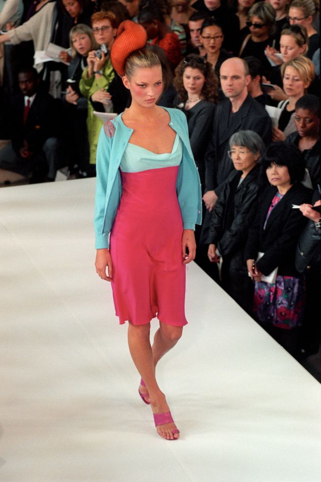 Kate Moss on the Matthew Williamson 'Electric Angels' catwalk at London's Fashion
