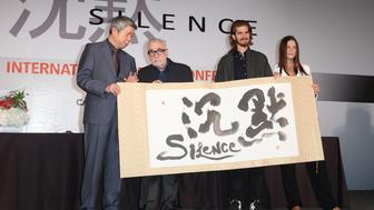 TAIPEI, CHINA - MAY 04: (CHINA OUT) (L2-R) Director Martin Scorsese, actor Andrew Garfield and producer Emma Koskoff attend press conference for director Martin Scorsese's film Silence on May 4, 2015 in Taipei, Taiwan of China.  (Photo by VCG/VCG via Getty Images)