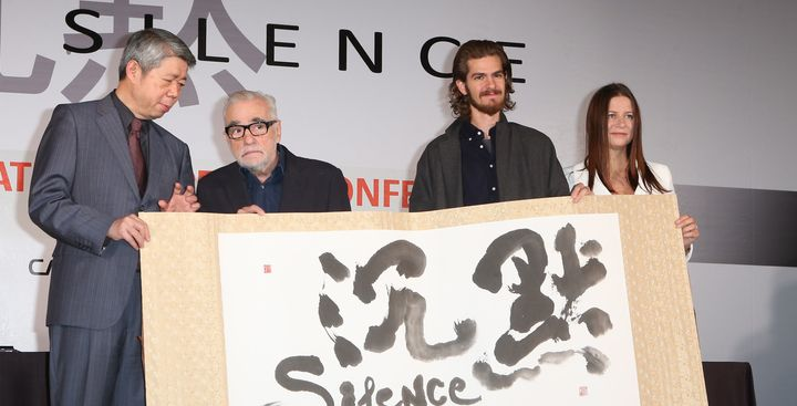 Director Martin Scorsese, actor Andrew Garfield and producer Emma Koskoff attend press conference for director Martin Scorses