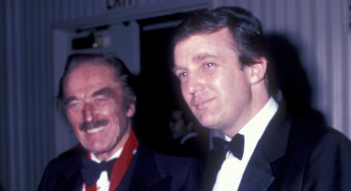 Fred Trump and Donald Trump on May 10, 1985 at the Waldorf Hotel in New York City.