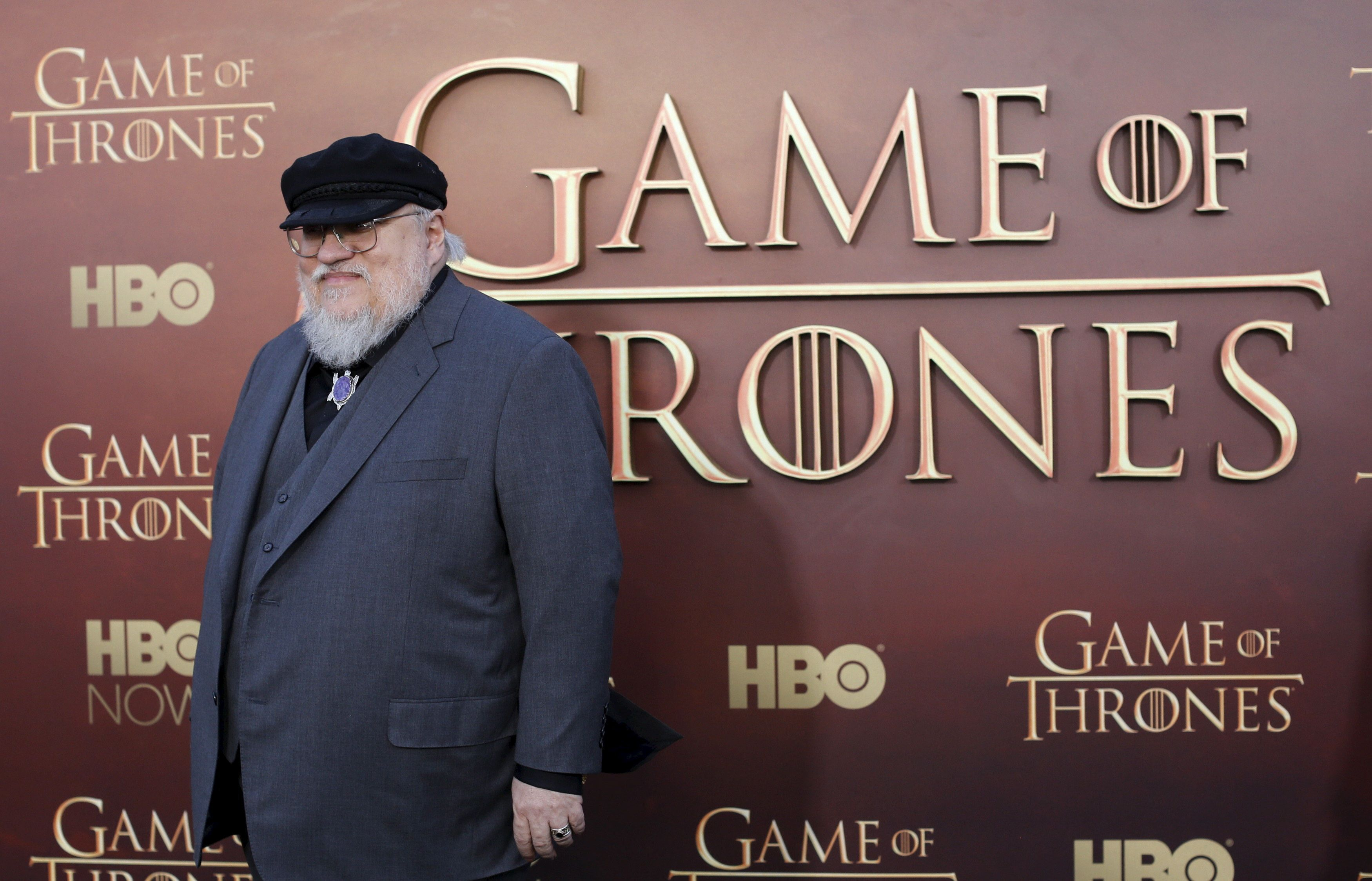 """Co-executive producer George R.R. Martin arrives for the season premiere of HBO's """"Game of Thrones"""" in San Francisco, California March 23, 2015. REUTERS/Robert Galbraith/File Photo"""