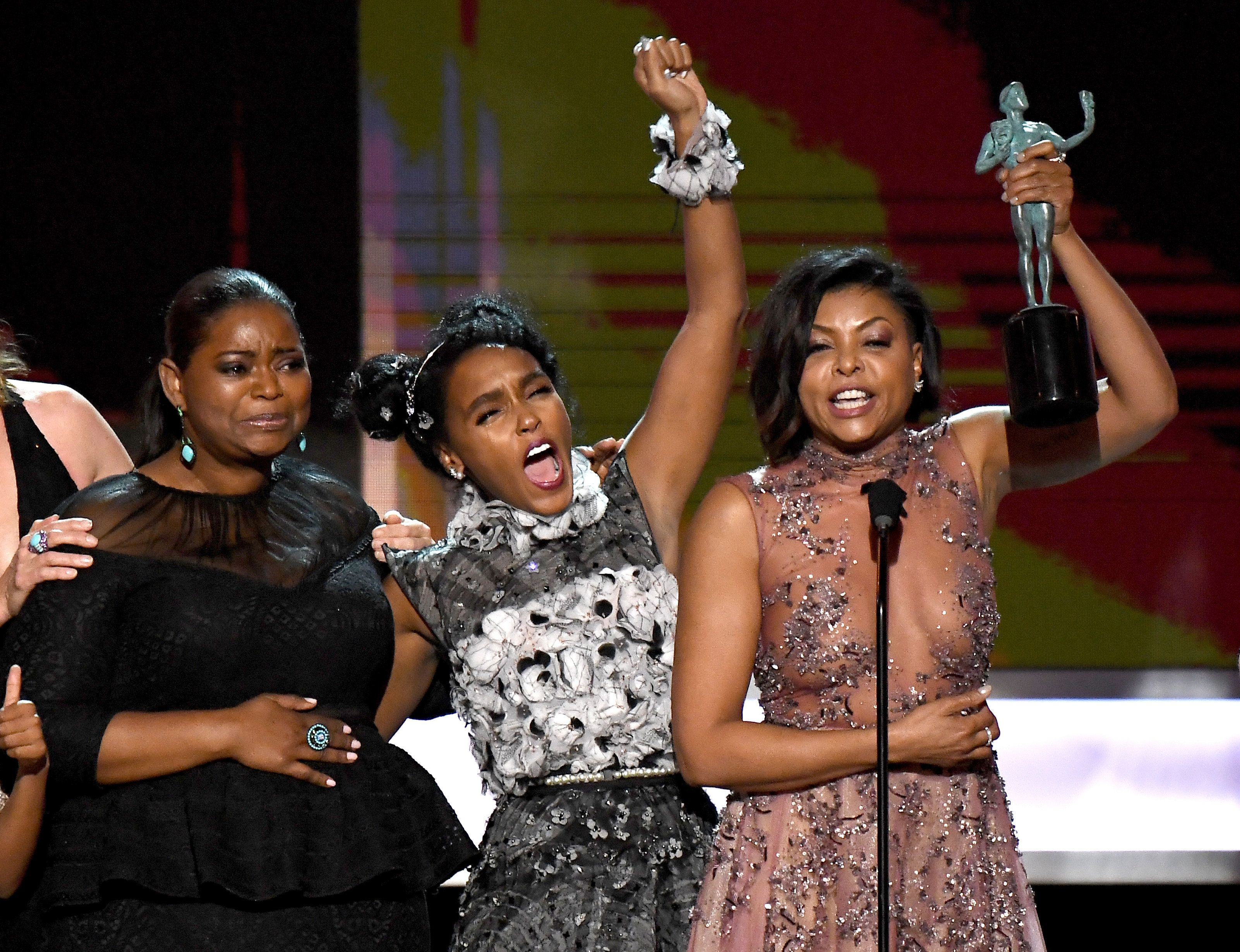 Octavia Spencer, Janelle Monáe, and Taraji P. Henson accept the SAG Award for Outstanding Performance by a Cast i