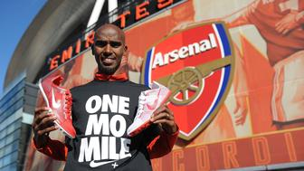 LONDON, ENGLAND - FEBRUARY 19:  Mo Farah poses as he takes part in a 5k run with local runners as part of Nike's Make It Count campaign at the Emirates Stadium on February 19, 2012 in London, England.  To to sign up join us at: www.facebook.com/nikerunninguk. #makeitcount.  (Photo by Chirstopher Lee/Getty Images for Nike)