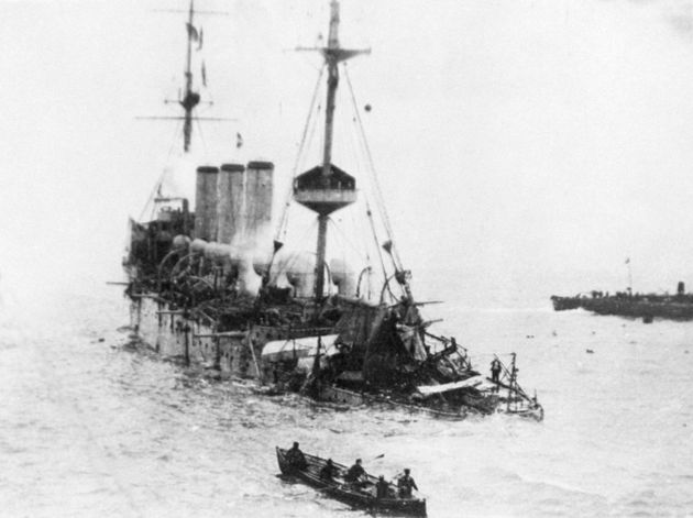 The sinking ship in the Straits of