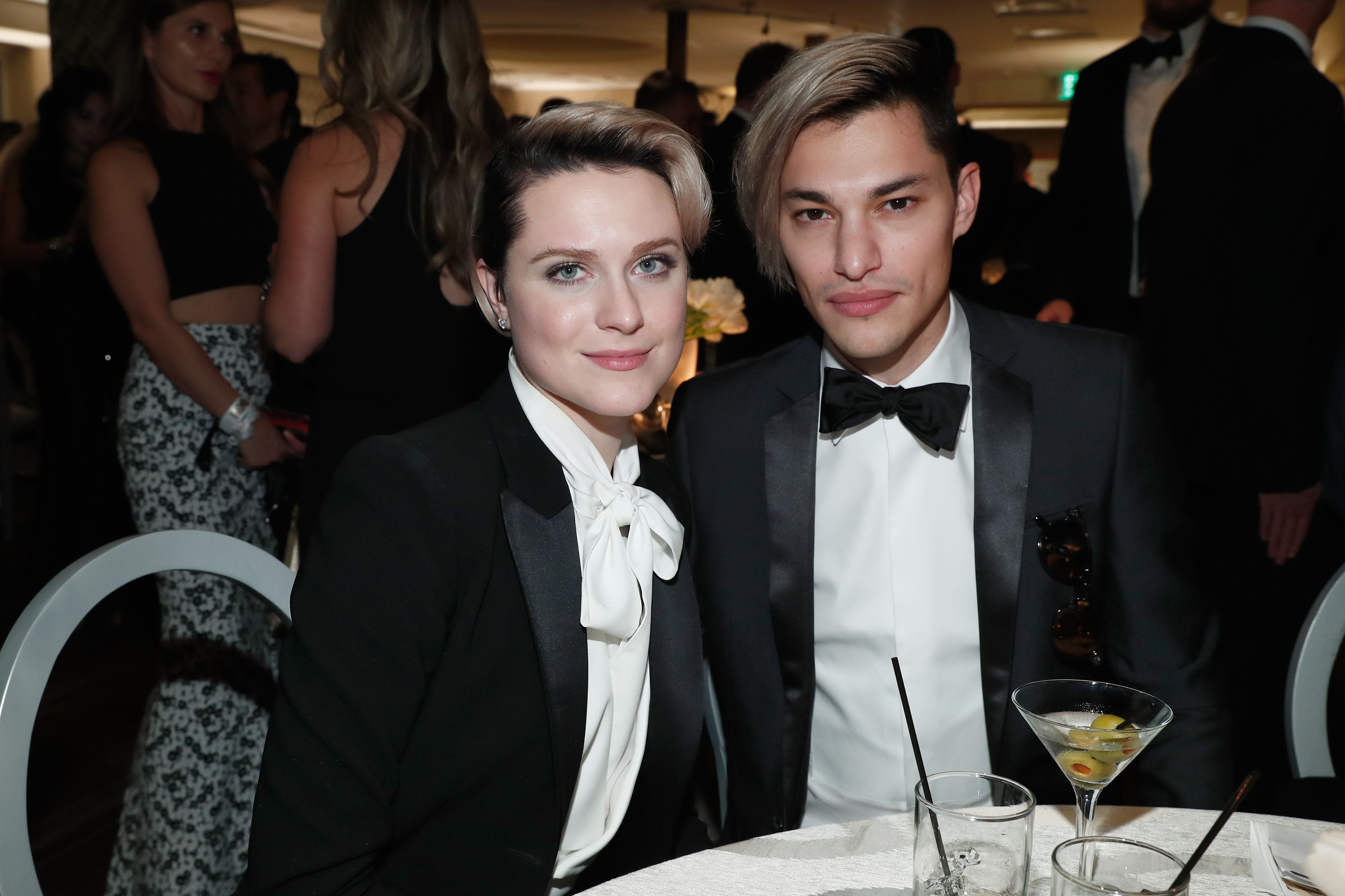 BEVERLY HILLS, CA - JANUARY 08:  Actress Evan Rachel Wood and Zach Villa of Rebel and a Basketcase attend HBO's Official Golden Globe Awards After Party at Circa 55 Restaurant on January 8, 2017 in Beverly Hills, California.  (Photo by FilmMagic/FilmMagic for HBO)