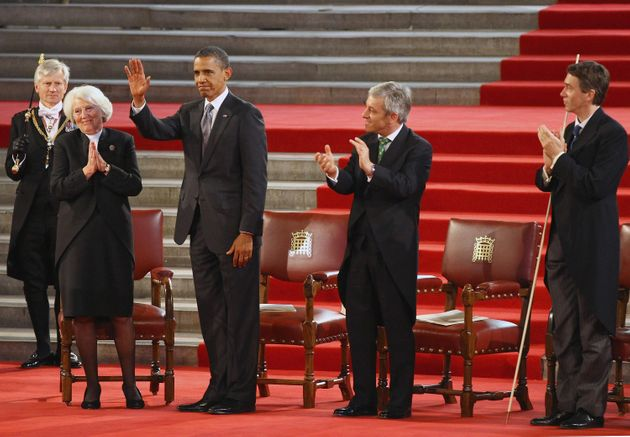 Barack Obama in Westminster Hall in 2011, flanked by the Commons and Lords Speakers and the Great Lord