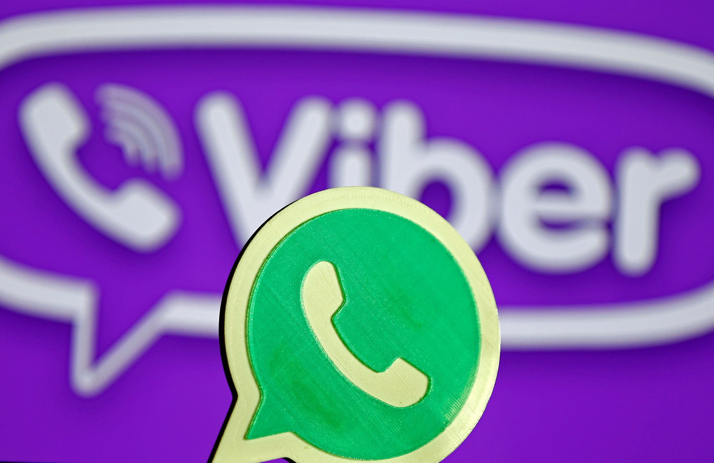 A 3D printed Whatsapp logo is seen in front of a displayed Viber logo in this illustration taken April 20, 2016. REUTERS/Dado Ruvic/Illustration