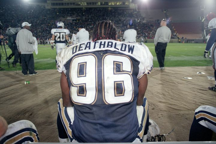 """Jamal """"Deathblow"""" Duff of the Los Angeles Xtreme takes a break during a game against the Chicago Enforcers on Feb. 10, 2001."""