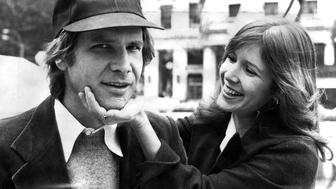 UNITED STATES - CIRCA 2002:  Harrison Ford and Carrie Fisher on Fifth Ave outside The Plaza hotel. They were in town for the movie 'Star Wars.'  (Photo by Richard Corkery/NY Daily News Archive via Getty Images)