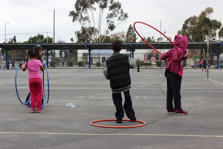 It's recess time at the Florence Griffith Joyner Elementary School in Los Angeles' Watts neighborhood. Joyner has been using