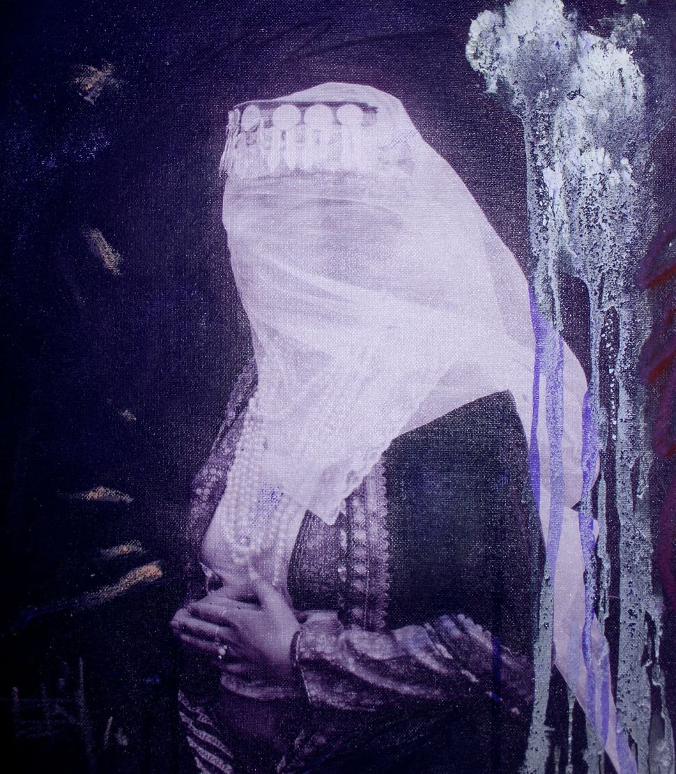 "Firouz Farman-Farmaian. ""A Woman with Veil in Purple (Study IV)"" (2016), amazonite pigment, acrylic, digital art layered on a"