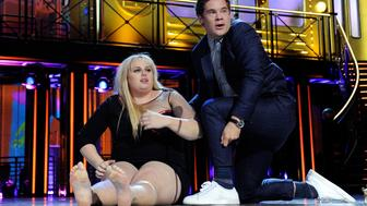 BURBANK, CALIFORNIA - APRIL 09:  Actress Rebel Wilson (L) and actor Adam DeVine kiss while accepting the Best Kiss award for 'Pitch Perfect 2' onstage during the 2016 MTV Movie Awards at Warner Bros. Studios on April 9, 2016 in Burbank, California.  MTV Movie Awards airs April 10, 2016 at 8pm ET/PT.  (Photo by Emma McIntyre/Getty Images for MTV)