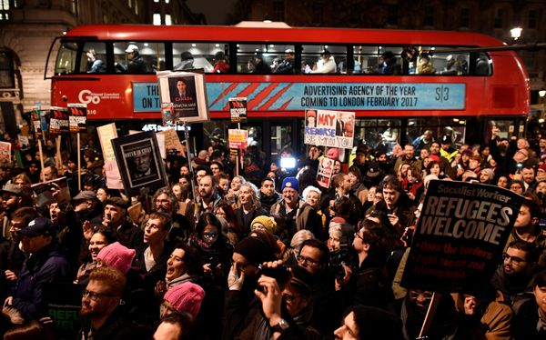 Many had gathered outside the residence of British Prime Minister Theresa May, who's been criticized for not condemning the t