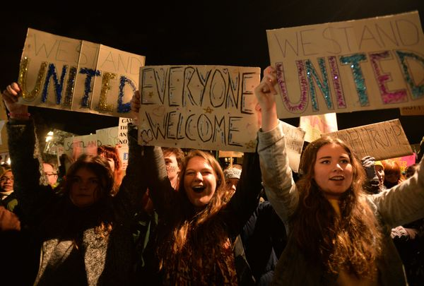 Protesters also gathered near the Scottish Parliament in Edinburgh on Monday evening.