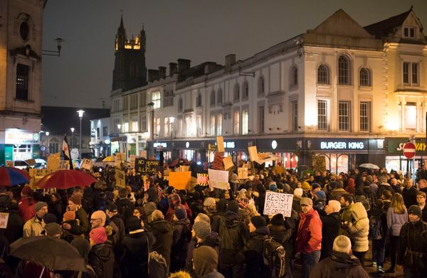 The largest of them took place in Cardiff, where demonstrators gathered on Queen Street.
